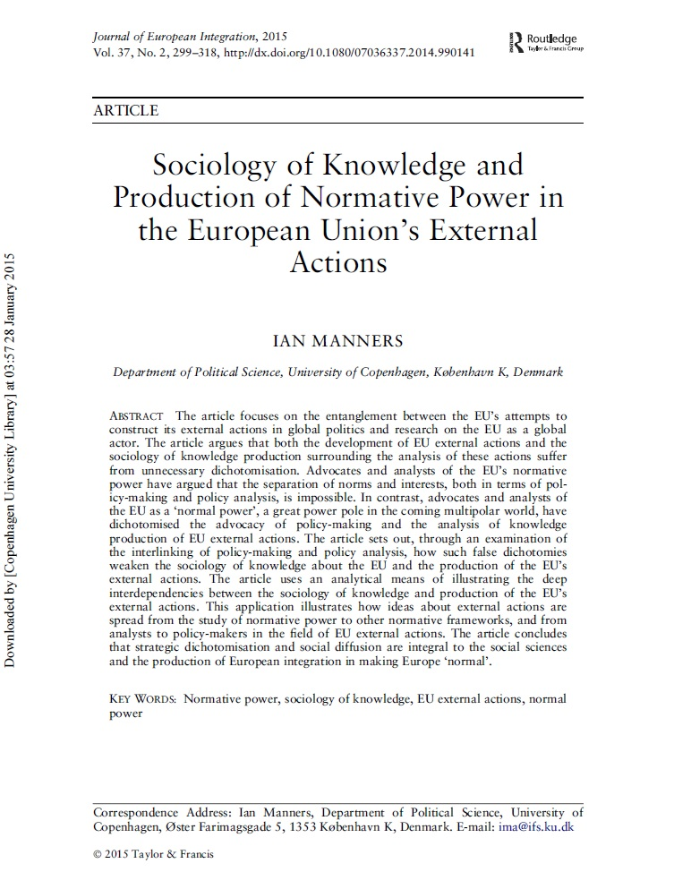 European concerted action topics by worldwidescience sociology of knowledge and production of normative power in the european unions external actions fandeluxe Image collections